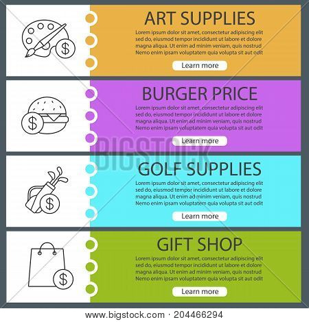 Services web banner templates set. Shopping bag with dollar sign. Buy art and golf equipment, burger. Website color menu items with linear icons. Vector headers design concepts