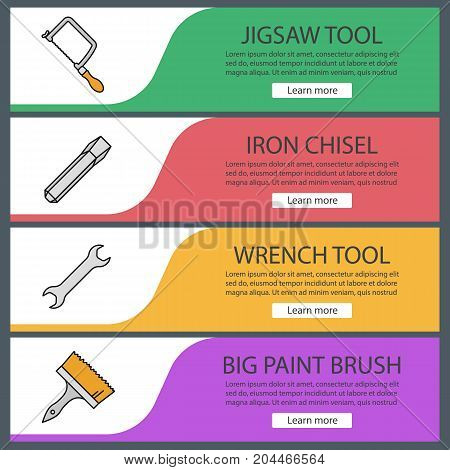 Construction tools web banner templates set. Jigsaw, iron chisel, wrench, paint brush. Website color menu items. Vector headers design concepts