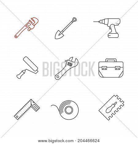 Construction tools linear icons set. Monkey wrench, spade, cordless drill, paint roller, tool box, set square, adhesive tape roll. Thin line contour symbols. Isolated vector outline illustrations