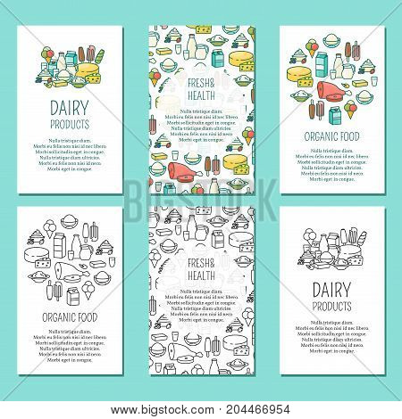 Vector set of farm vertical posters. Dairy products, Fresh and health, Organic food design elements in modern thin line flat style for farming business advertising.
