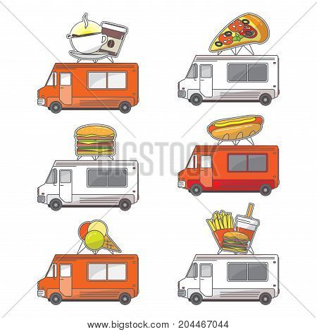 Vector set of street food truck icons isolated on white background. Coffee, pizza, hot dog, ice cream, fast food mobile shops for street food festivals in flat style.