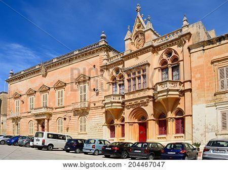 MDINA, MALTA - APRIL 1, 2017 - The Bishops Palace in the Pjazza San Pawl Mdina Malta Europe, April 1, 2017.