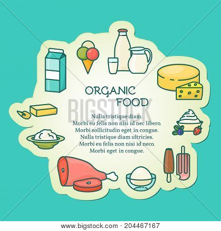 Organic food concept vector illustration in modern thin line style for banners, posters, flyers and printed materials.