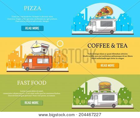 Vector set of street food truck horizontal banners. Pizza, Coffee and tea, Fast food concept flat style design elements for street food business advertising.