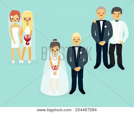 Vector set of wedding cartoon characters in flat style. Bride in wedding dress and veil holding bouquet and groom in wedding tuxedo icons.
