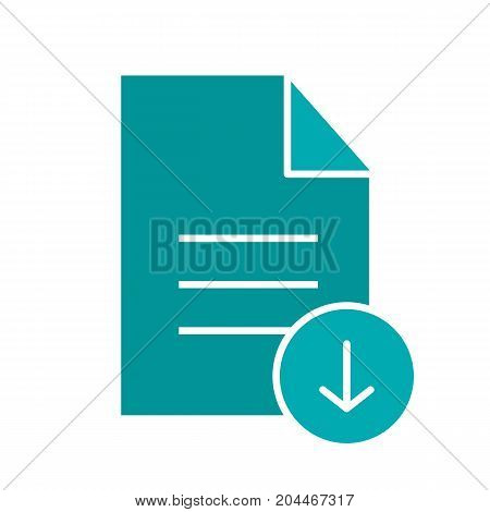 Download document glyph color icon. Text file with download arrow. Silhouette symbol on white background. Negative space. Vector illustration