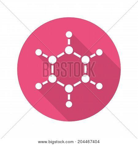 Molecule flat design long shadow glyph icon. Molecular structure model. Vector silhouette illustration