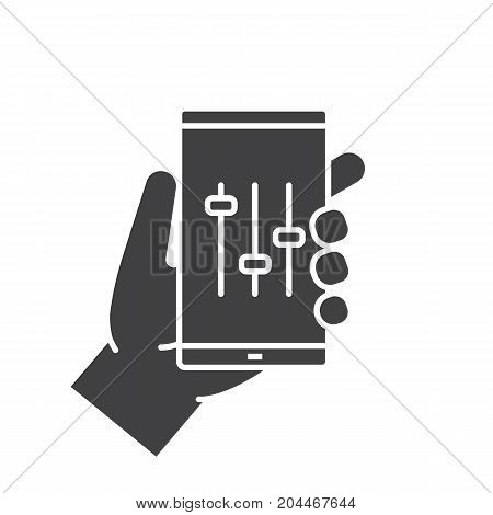 Hand holding smartphone glyph icon. Silhouette symbol. Smart phone music equalizer. Negative space. Vector isolated illustration