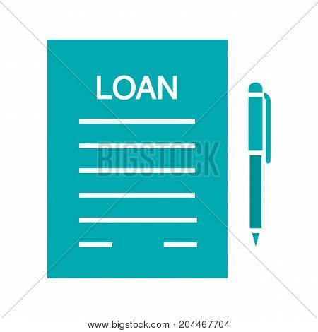Loan agreement glyph color icon. Mortgage document with pen. Silhouette symbol on white background. Negative space. Vector illustration
