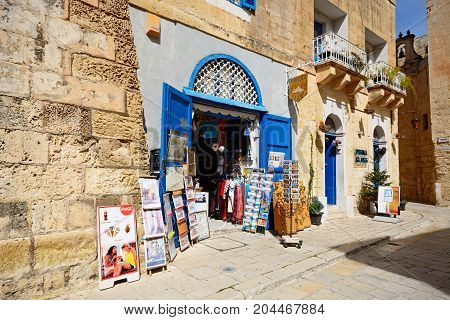 MDINA, MALTA - APRIL 1, 2017 - Tourist souvenir shop in the old town Mdina Malta Europe, April 1, 2017.