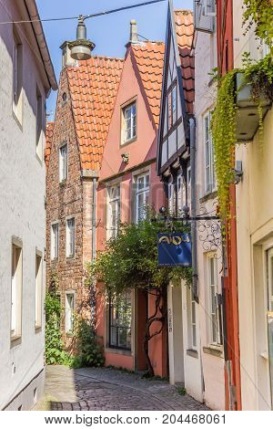 BREMEN, GERMANY - AUGUST 23, 2017: Colorful houses of the Schnoor district in Bremen Germany