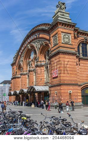 BREMEN, GERMANY - AUGUST 23, 2017: Main central railway station of Bremen Germany