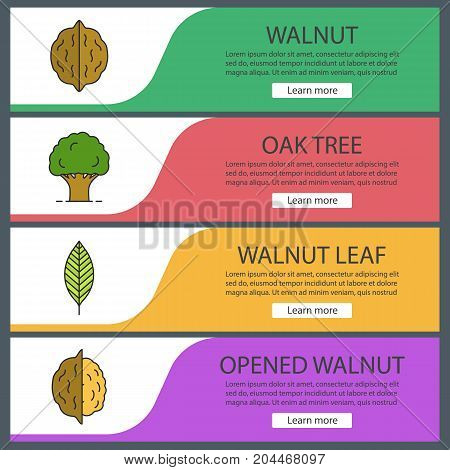 Forestry web banner templates set. Nuts, oak tree, walnut leaf. Website color menu items. Vector headers design concepts
