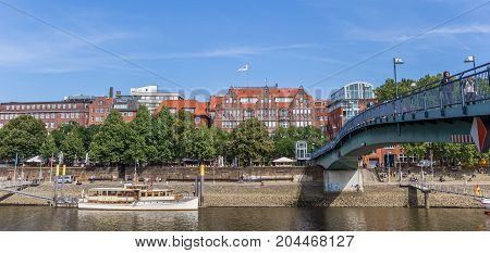 BREMEN, GERMANY - AUGUST 23, 2017: Panorama of steel bridge over the river Weser in Bremen Germany