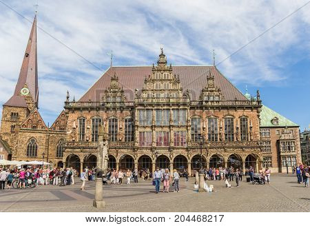 BREMEN, GERMANY - AUGUST 23, 2017: Historical town hall at the central market square of Bremen Germany