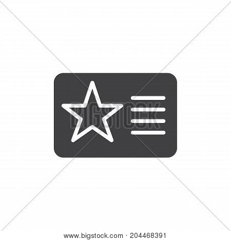 Membership card with star icon vector, filled flat sign, solid pictogram isolated on white. Symbol, logo illustration. Pixel perfect vector graphics