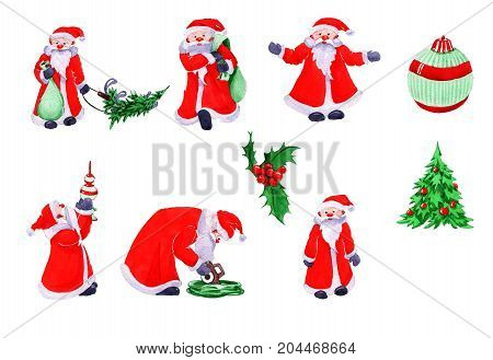 Collection of element decoration Christmas Santa Claus - set 1