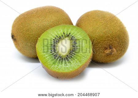 Kiwi Fruit, Half Of Kiwi Isolated