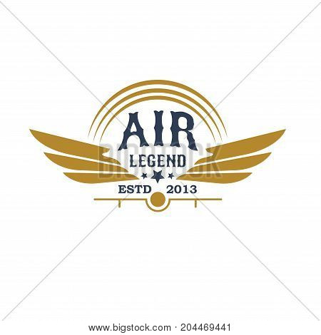 Airplane icon for aviation retro emblem. Air legend isolated symbol with airplane propeller and wings for aircraft emblem, flying club badge, air travel and transportation themes design