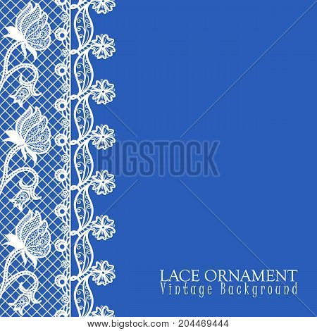 Vector decorative background with lace design and place for text. Border floral pattern with decorative flowers and leaves. Lacy vintage ornament
