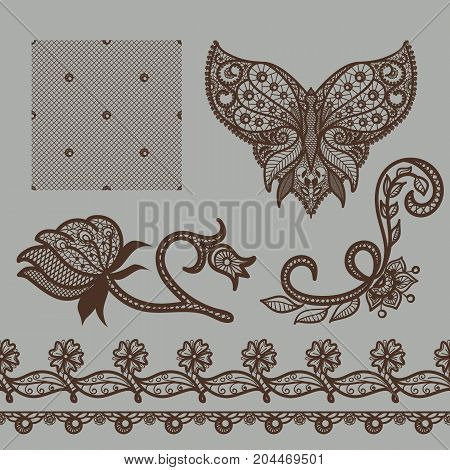 Vector set of decorative elements. Collection of lace patterns: neckline with butterfly, borders, seamless texture, flowers and leaves. Ornamental floral motifes