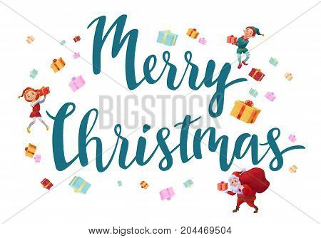 Merry christmas card with lettering, santa claus, elves, gifts, winter holidays greeting background with cartoon characters, cute elf boy and elf girl, vector illustration