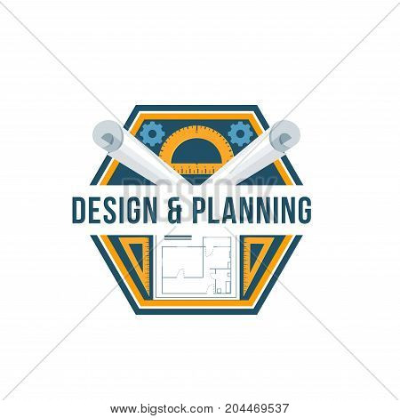 Building design and planning isolated badge. House plan and architectural drawing with ruler and protractor icon for interior design studio emblem, construction and development company symbol design