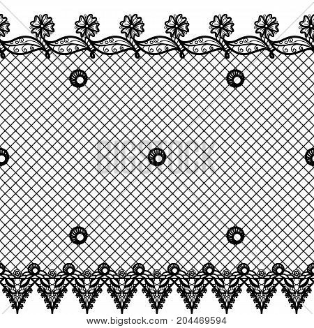 Vector seamless texture with lace design and borders. Black and white floral pattern with decorative elements, flowers and leaves. Lacy vintage ornament
