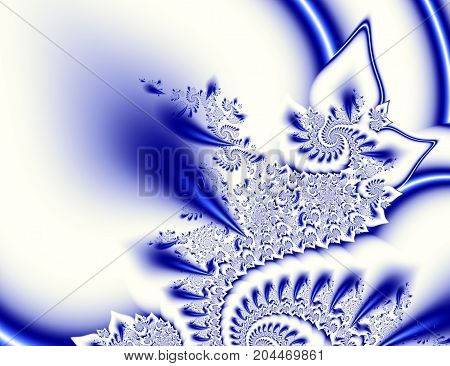 Dark blue white contrast abstract fractal art. Shiny background illustration with beautiful leafy or petal structures and spirals. Professional fancy style. Creative template for projects layouts