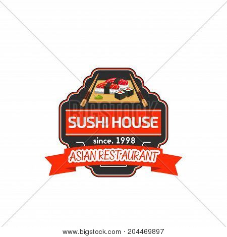Japanese sushi platter label of asian restaurant. Salmon fish roll and nigiri sushi with rice, tuna and seaweed, chopsticks and wasabi sauce on wooden plate badge for sushi bar design