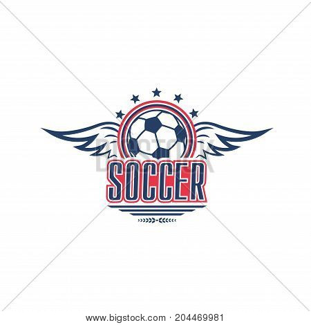 Soccer game isolated symbol with football sport ball. Winged soccer ball icon, decorated with star for football club emblem or soccer sport team badge design