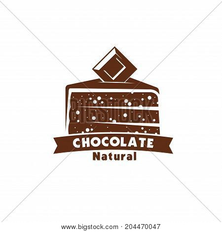 Chocolate cake sweet dessert icon of confectionery and pastry shop label. Cake with cocoa glaze or chocolate fondant, topped with dark chocolate bar for cafe dessert menu, food packaging emblem design