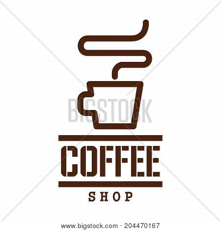 Coffee drink and hot beverage icon with cup of espresso or cappuccino and mug of latte or chocolate. Coffee shop, cafe or restaurant emblem, coffee bean packaging label design