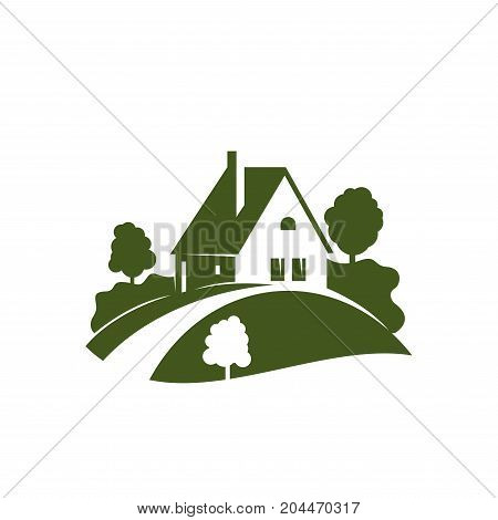 Green house icon with grass lawn, garden tree and plant, driveway and path. Landscaping, gardening and lawn care company emblem, country estate and ecology themes design