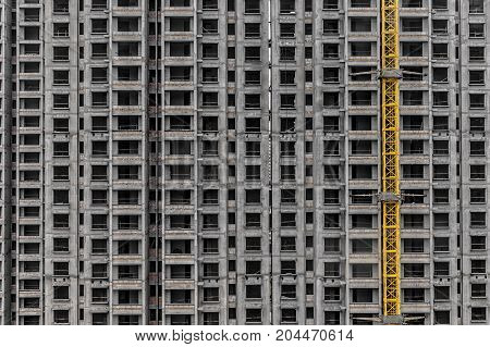 Construction of skyscrapers closeup photo with frames