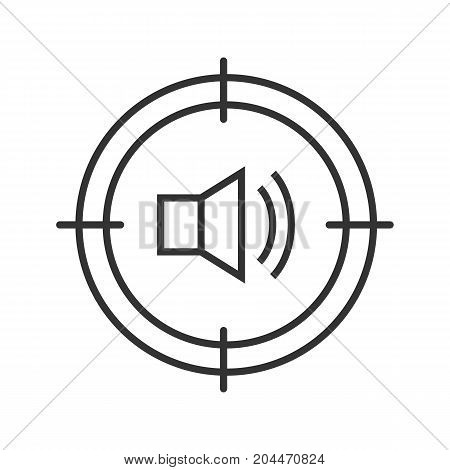 Aim on loudspeaker linear icon. Thin line illustration. Sound technician, soundman searching. Contour symbol. Vector isolated outline drawing