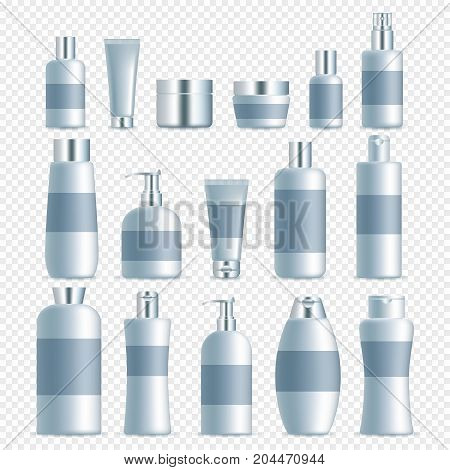 Vector set of realistic cosmetic packaging templates. Empty white skin care cosmetics plastic jars, tubes, spray bottles, airless pump bottles.