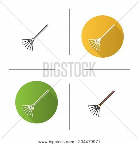 Rake icon. Flat design, linear and color styles. Isolated vector illustrations