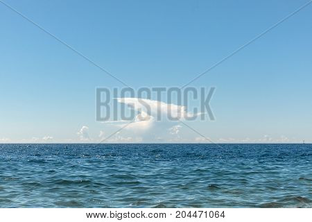 Shore of the Adriatic sea after storm with large waves