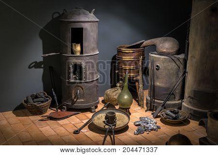 An Old fashioned aged blacksmith workshop interior