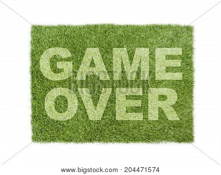 Green Grass Isolated On White With Game Over Title