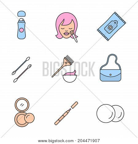 Cosmetics accessories color icons set. Roll antiperspirant, woman with makeup brush, wet wipes, cotton pads, earsticks, hair dyeing kit, purse, rouge, eyeliner. Isolated vector illustrations