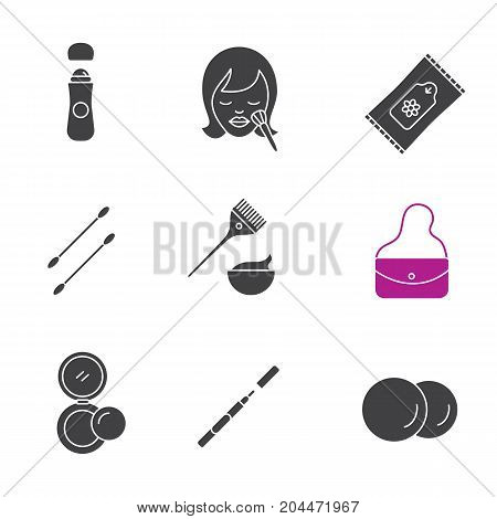 Cosmetics accessories glyph icons set. Silhouette symbols. Roll antiperspirant, wet wipes, cotton pads, earsticks, hair dyeing kit, purse, rouge, eyeliner. Vector isolated illustration