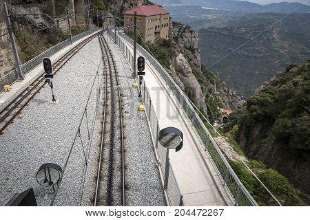 train-station and railroad of the Cremallera de Montserrat train, Catalonia, Spain