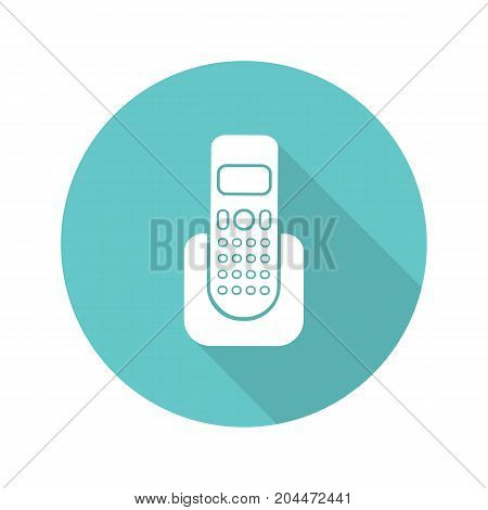 Telephone flat design long shadow glyph icon. Vector silhouette illustration