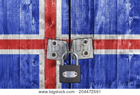Iceland flag on door with padlock close