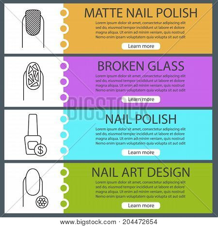 Manicure web banner templates set. Matte, broken glass manicure, nail polish bottle, fingernail with flower. Website color menu items with linear icons. Vector headers design concepts