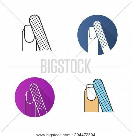 Nail filing icon. Flat design, linear and color styles. Woman's nail with file. Isolated vector illustrations