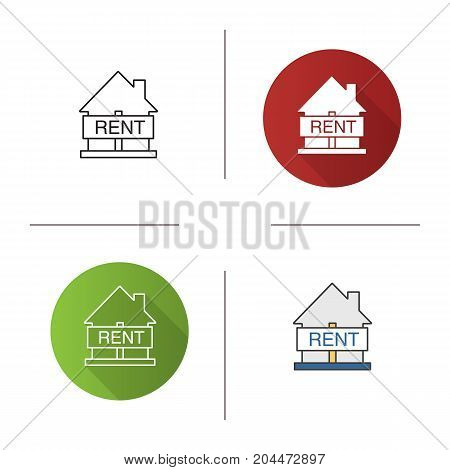 House for rent icon. Flat design, linear and color styles. Real estate market. Isolated vector illustrations