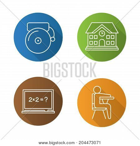 Education flat linear long shadow icons set. School building, bell, pupil sitting in classroom, blackboard. Vector outline illustration